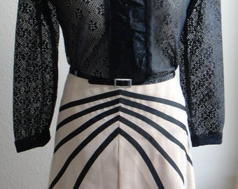 Tan and Black A Line Satiny Skirt