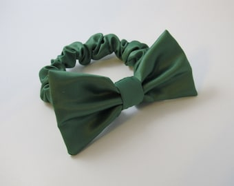 Green Satin Holiday Ring Bearer Bow Tie For Your Dog - Wedding Accessory - Great Gift or Stocking Stuffer