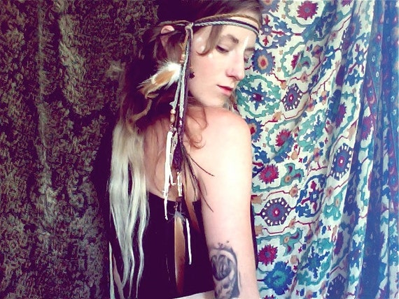 warrior of light. headdress & talisman. organic feathers. 'in stock/ ready to ship'