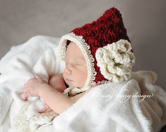 Newborn Christmas Hat / Baby Girl Christmas Prop / Crochet Pixie Bonnet Christmas Photography Prop PERFECT for Baby's First CHRISTMAS