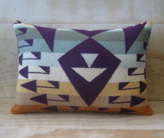 Wool Pillow - Arrow Purple Olive Mint Stripe - Native Geometric Tribal