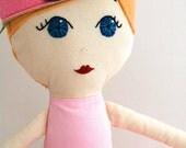 Handmade Cloth Doll Blonde Ballerina with Felt Crown - Ready to Ship