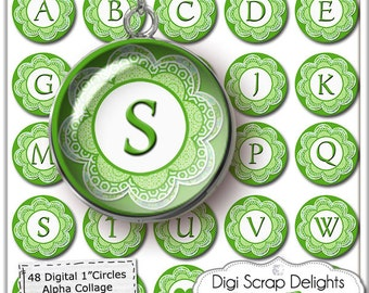 Digital Collage Sheet Alphabet One Inch Circles- Green Flower - Pendants, Magnets, Hair Bows,  Jewelry , Instant Download