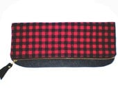 Red buffalo check fold over clutch