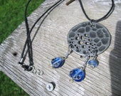 Unique Necklace - Full Moon Dreamcatcher Metal and Blue Glass Pendant on Black Cotton Cord