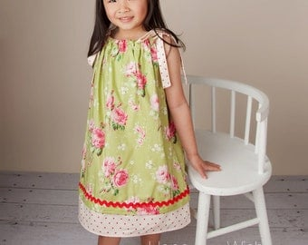 Pillowcase Dress - Barefoot Roses - Rose Dress - Photo Prop - 2 Layers Trim - Floral - Toddler Girls Dress - Kids Fashion - 12m to 6T