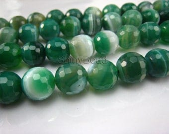 green  banded agate facted round bead 12mm 15 inch strand