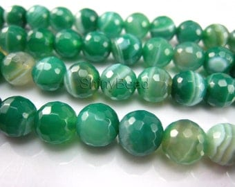 green banded agate facted round bead 10mm 15 inch strand