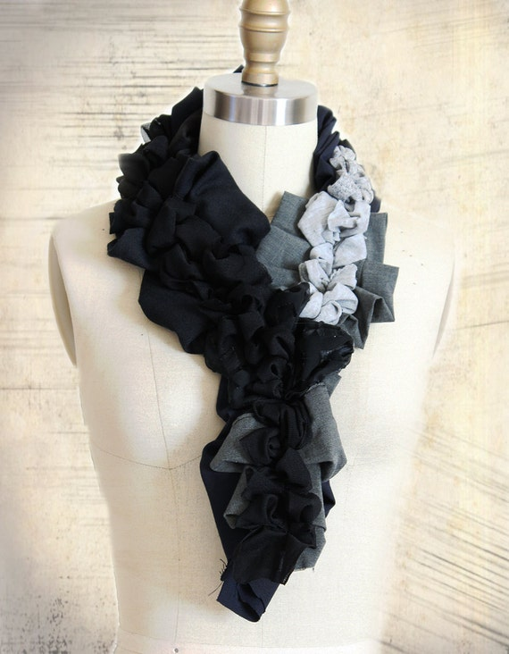 Black Grey Pleated Scarf with Ruffles in Upcycled Fabric Free Form Deconstructed Look Recycled Eco Friendly Apparel