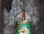 Vintage Green Floral Tin