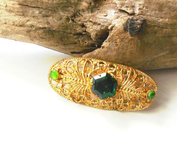 Art Deco Vintage Czech rhinestone brooch, gold filigree green stone vintage brooch