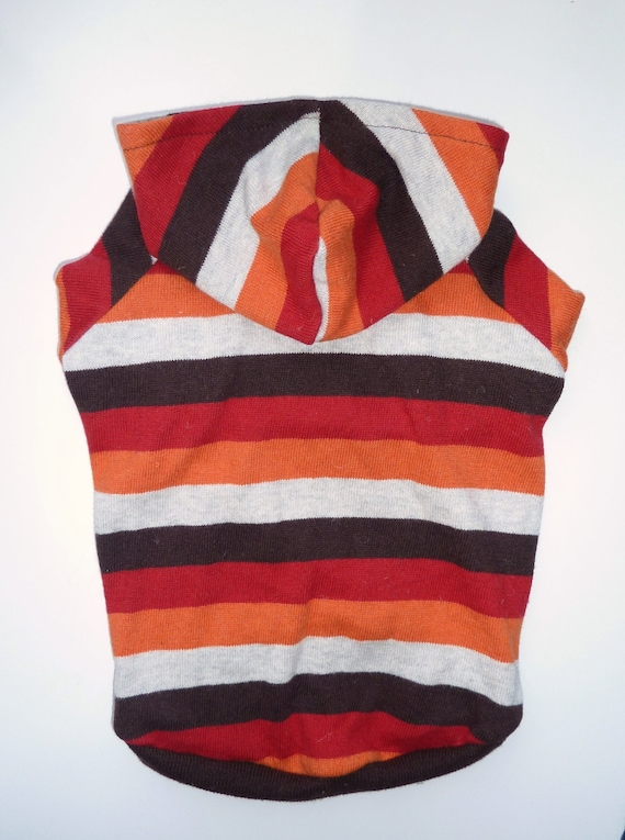 Striped Dog Sweater with Hoodie (Upcycled) Small