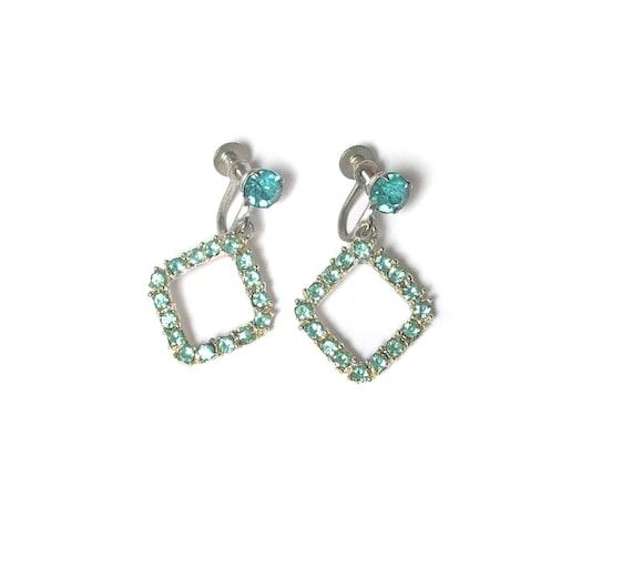 1960s Blue Rhinestone Dangle Earrings / Mad Men Jewelry / Costume Jewelry / Wedding Bridal / Silver Earrings / Vintage Jewelry