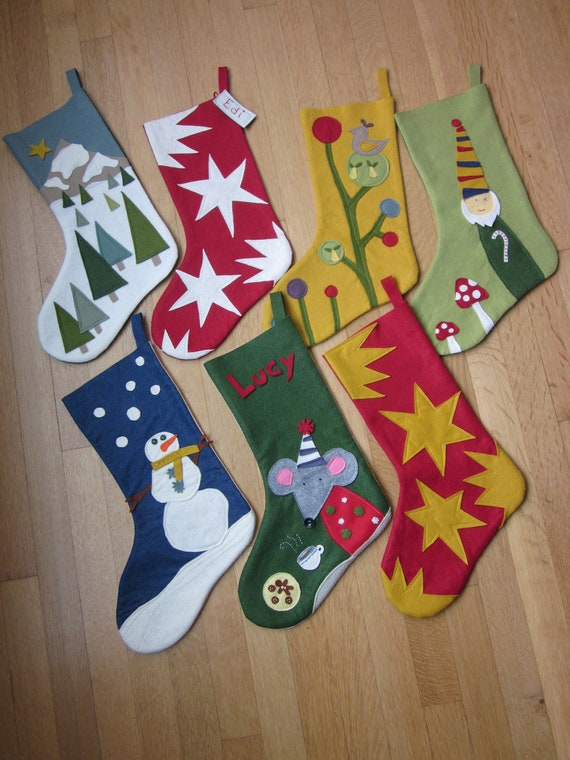 Items Similar To Wool Felt Christmas Stocking On Etsy