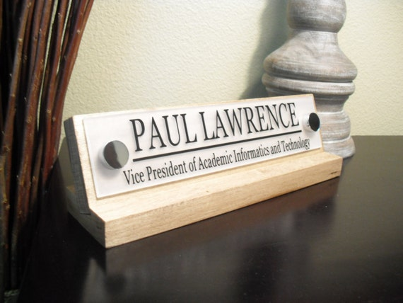 Desk Name Plate Custom Name On Acrylic With Wooden By