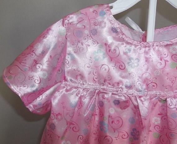 Girls Barbie Pink Satin Babydoll Pajamas