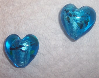 PAIR of Blue Foil-lined Glass Lampwork Heart Focal Beads 20mm x 20mm