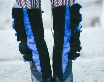 Women's spats - Sapphire leather and black suede ruffles-Melusine