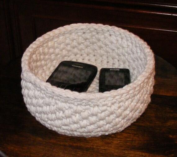 Handmade Cotton Baskets : Items similar to handmade storage basket crochet cotton