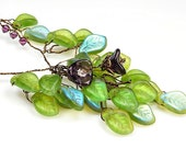 Purple Green Flower Necklace with leaves, Green Statement Necklace, Green Beaded Necklace, Green Bib Necklace,  Woodland Weddings Jewelry