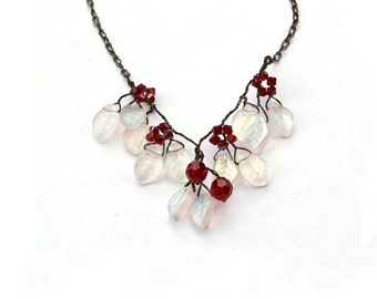 White Red Necklace, Beaded Necklace, Leaf Necklace,Christmas Jewelry, under 50, gift for her