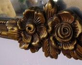 Antique art deco mirror golden gilt roses in repose wooden carving