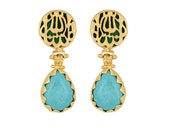 MashaAllah Earrings, Gold Plated, Green Backgrounded, Pear Turquoise stone, Masha  Allah Earrings