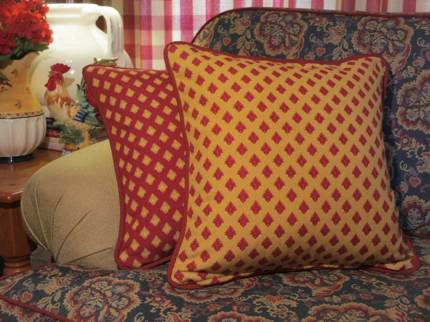 Red And Yellow Decorative Pillows : French Country Pillow Cover Red and Yellow Pillow Pompom