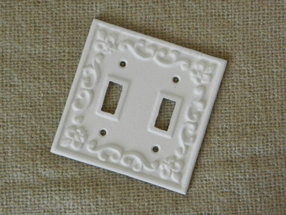 White cast iron light switch cover double by juxtapositionsc - Wrought iron switch plate covers ...