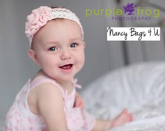 Crocheted Baby Headband Pink Photo Prop