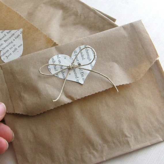 Wedding Gift Wrap Bags : bags6 7 inchesset of 20repurposed book heartgift wrap ...