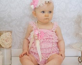 Baby Pink Petti Romper and Feather Headband SET - Pink & Cream Embellished Romper - Nagorie Feather - Vintage Cake Smash