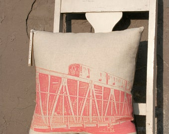 Chicago Pink Line Pillow