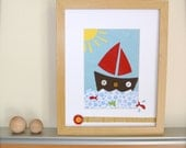 Nautical Wall Art, Red Sailboat Nursery Art, Art for Children