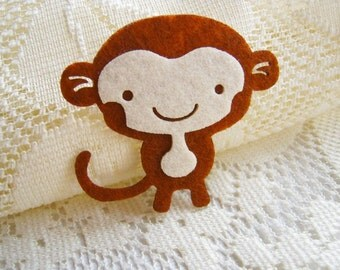Iron on Applique Cute Brown Monkey, kid, baby, toys, man, woman, shirt, bag, kid, baby shower, birthday gift, sewing, Baby Shower, Shirt,A20