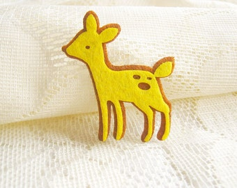 Iron on Applique Yellow Brown Reindeer, brown deer, felt applique, shirt decoration,kid, baby, toys, baby shower