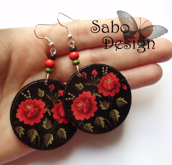 POLISH FOLK ROSES earrings, decoupaged in black, red, green, colorful earrings, perfect gift