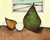 Art for Kitchen, Illustration of Yellow Green Pears, Watercolor Fruit Painting, Colorful Pear Art Print