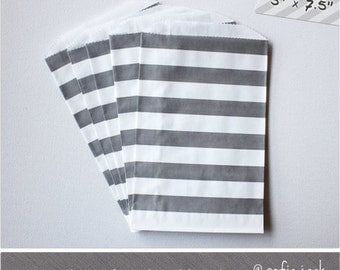 Gray - Rugby Stripe - Medium Favor Bags - 10