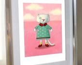 "Sweet cat illustration for nursery - Limited edition giclee print of original illustration 8""x10"""