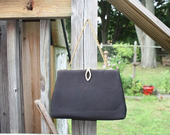 Vintage 1960s Black Satin Clutch Purse With Gold Closure and Gold Chain-Marked HL USA