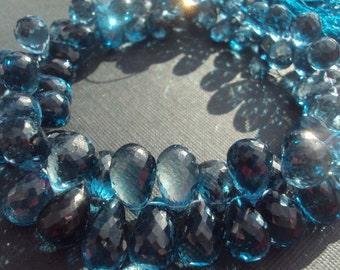 50% OFF SALE BEST Seller. Flawless London Blue Topaz Faceted Teardrop Briolette Bead 12x7mm Luxe aaa, Something Blue, Wedding, December Birt