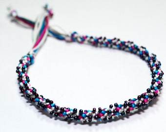Bracelet Beaded Kumihimo Satin Cord Fiber Purple Blue Metallic Beads Jewelry