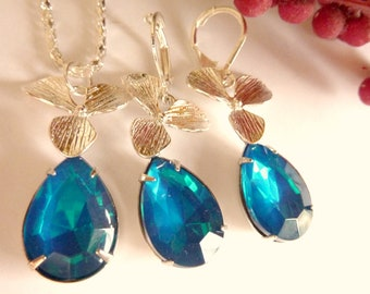 Bridesmaids necklace set teal rhinestone silver orchid drop necklace and earrings set RARE teal blue green rhinestone chain