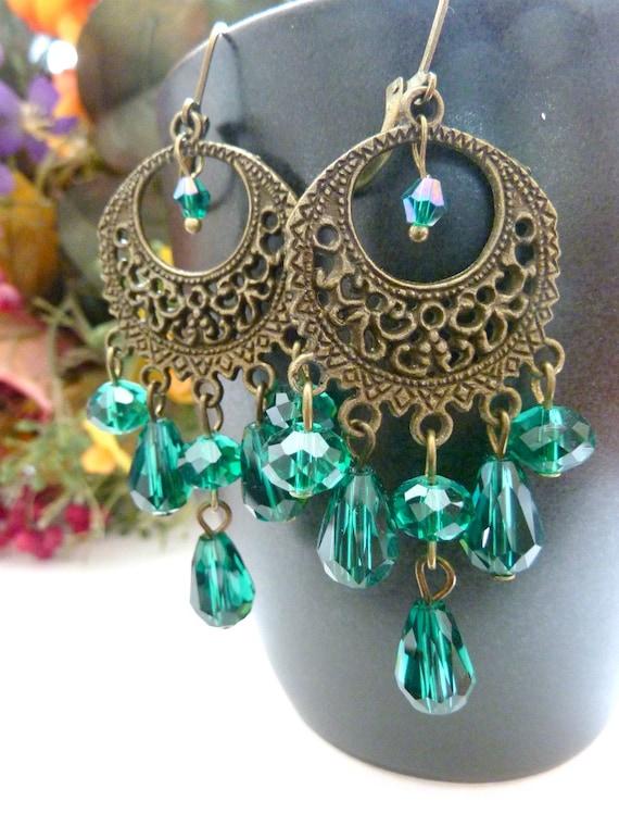 Chandelier earrings teal green vintage drop by Dewdropsdreams