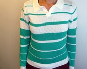 Striped Sweater Geek Chic Turquoise and White V Neck