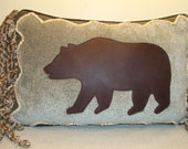 "Leather Bear Pillow on Pale Teal/Mint Chenille with Rustic Details and Chenille Rope Fringe and Down Fill.  12"" x 18"" (Made to Order)"