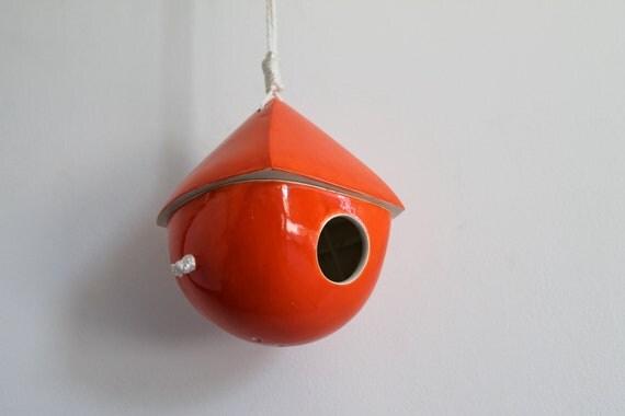 Dark Orange Porcelain Birdhouse