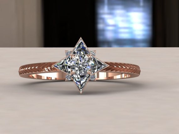 Gold And Diamond Star Engagement Ring