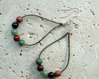 Fancy Agate Gemstone Beads & Leather Handmade Earrings